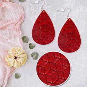 BOGO Red Faux Leather Earrings